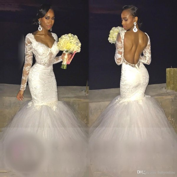 Backless Mermaid Wedding Dresses With Long Sleeves Tulle Lace Bridal ...