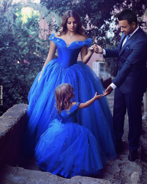 2018 Off Shoulder Ball Gown Beaded Puffy Prom Dress Mother And Daughter Matching Dress Cute Toddler Flower Girls Pageant Communion Dress