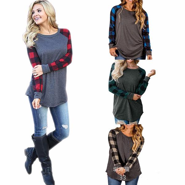 top popular S-5XL Plaid Panel Raglan Women T Shirt Long Sleeve Patchwork Blouses Spring Autumn T-shirt Casual Pullover Tops Ladies Tshirts Blouse 2018 2021