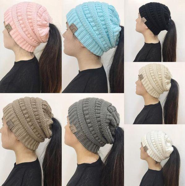 d1481ae05e250 CC Ponytail Beanie Hat 10 Colors Women Crochet Knit Cap Winter Skullies  Beanies Warm Caps Female