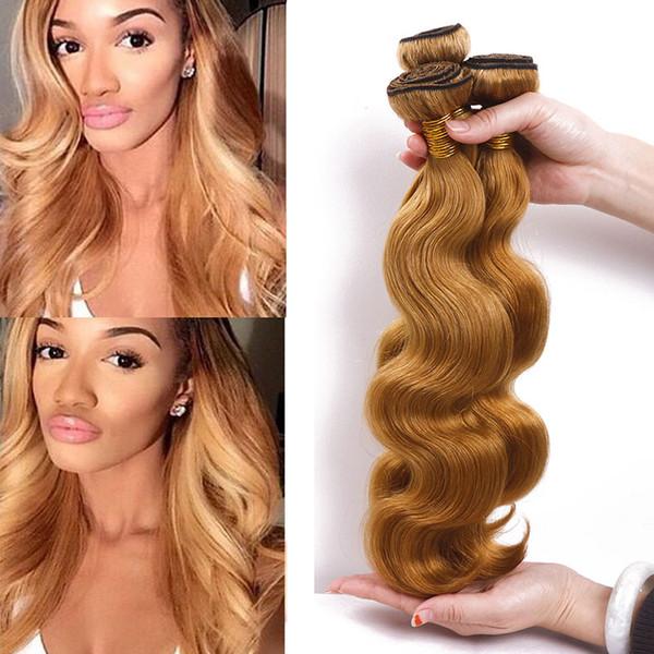 Chinese Virgin Hair Body Wave Bundles 3pcs Light Brown Hair Weaves Unprocessed Cheap Extensions 27# Human Hair