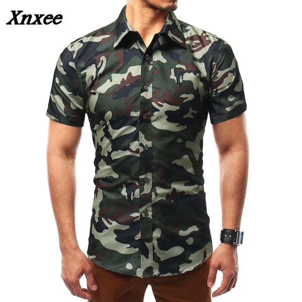 Camisa de hombre 2018 Nueva moda de hombre Camisa de lino Casual Camuflaje delgado Estampado manga corta M-XXXXX Xnxee