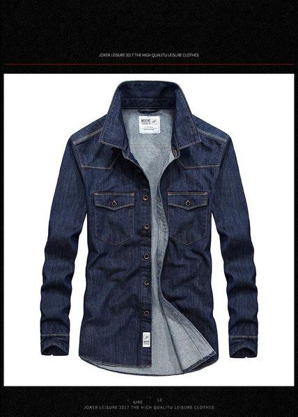 2018 Cotton Jeans Men Shirt Denim Design Autumn Casual Shirts Long Sleeve Size 4XL