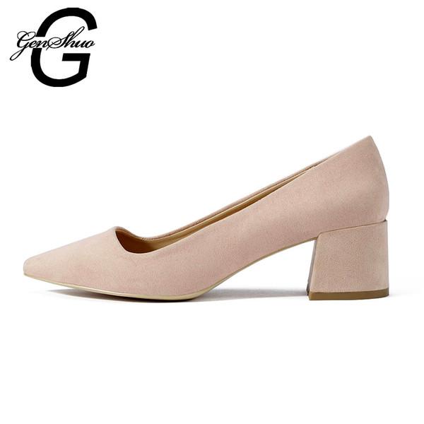 nuevo estilo 93f62 f5aef Compre Zapatos De Vestir Con Tacones Bajos Para Mujeres Zapatos Con Tacones  De Mujer Chucky Elegante Tacones Cuadrados Para Mujer Tamaño EUR 35 41 ...