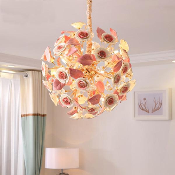 Merveilleux French Pastoralism Style Crystal Pendant Lights Romantic Ceramic Flowers Hanging  Lamps Art Deco Living Room Bedroom