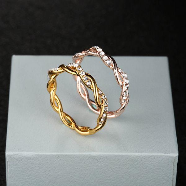 Gül Altın Renk Büküm Klasik Kübik Zirkonya Düğün Nişan Yüzüğü Kadın Kızlar için Avusturyalı Kristaller Hediye Yüzükler drop shipping