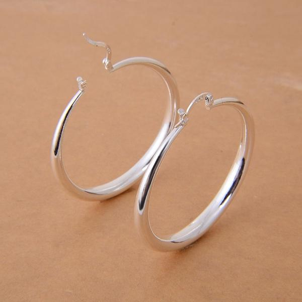 Big Earrings New Trendy 925 Sterling Silver Gold/Silver Color Fashion Jewelry/Jewellery Round Large Size Hoop Earrings for Women