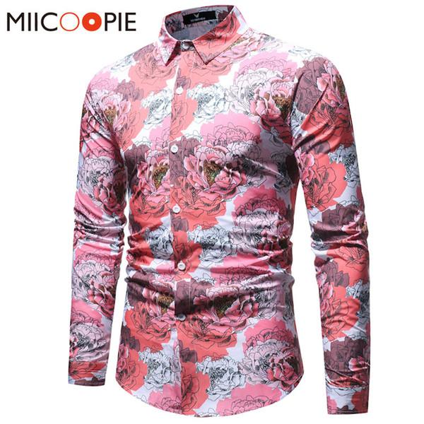 Nueva primavera Floral Print Men Pink Camisas de manga larga Slim Male Casual Business Social Peony Flower Hawaiano impreso Camisas de vestir