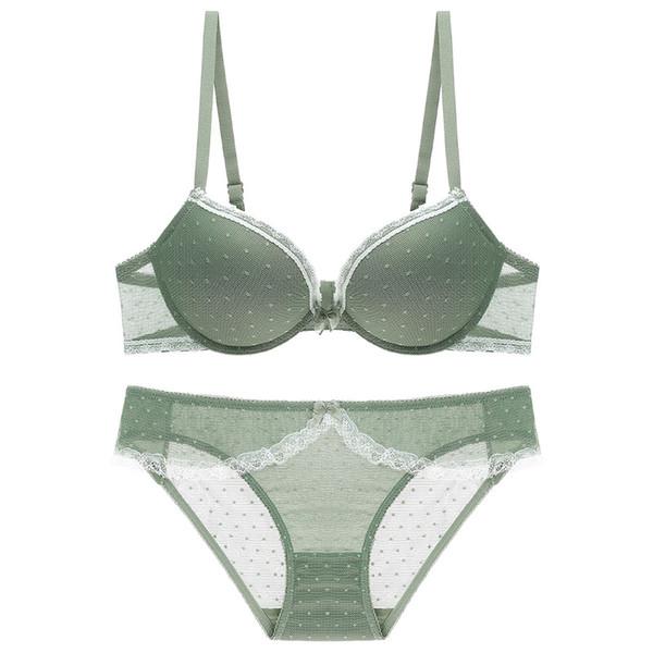 High Quality Sexy Push Up Bras with Panties Sexi Girl Wear Bra and Bikini Fashion Lace Polka Dot Lingerie Elegant Cotton Underwear Set