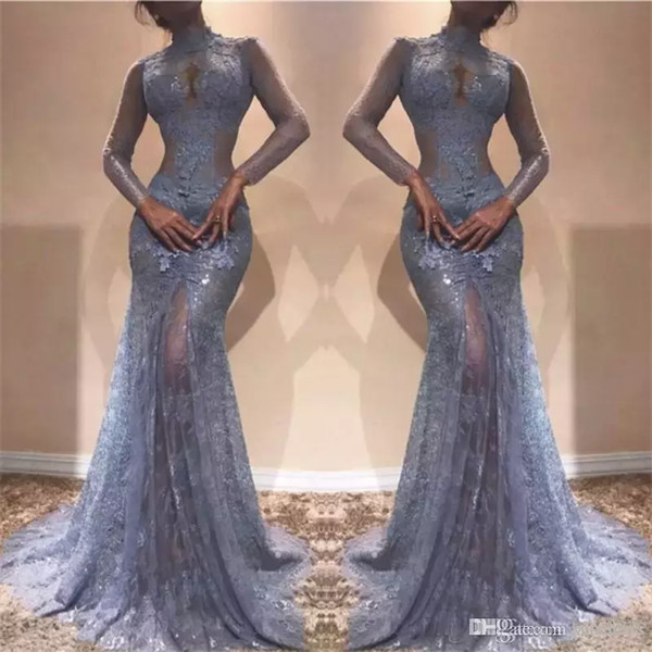Zuhair Murad Gorgeous Prom Dresses 2020 Full Lace High Neck Mermaid Illusion Long Sleeves See Through Evening Dress Lavender Party Gowns