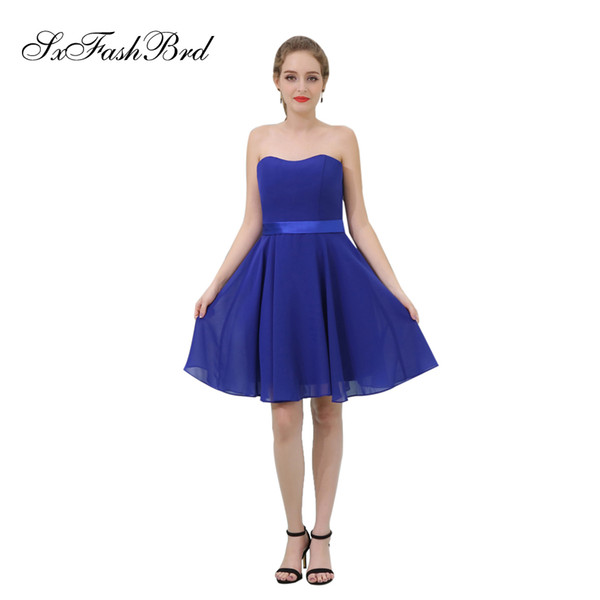 Elegant Girls Dress Sweetheart A Line Chiffon Mini Short Blue Party Formal Evening Dresses for Women Prom Dress Gowns