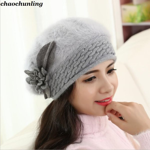 Europe and America Female Knitted Hats 2018 New Winter Super Warm Lady Thick Imitation Rabbit Hair Big Flower Hats 9 Colors