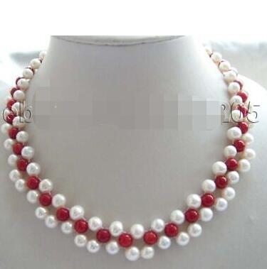 "Free shipping 18"" Handwork Natural White Pearl Red Coral Necklace"