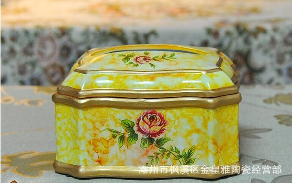 Wholesale Vintage American ceramic crafts jewelry box box Home Furnishing marriage room decoration
