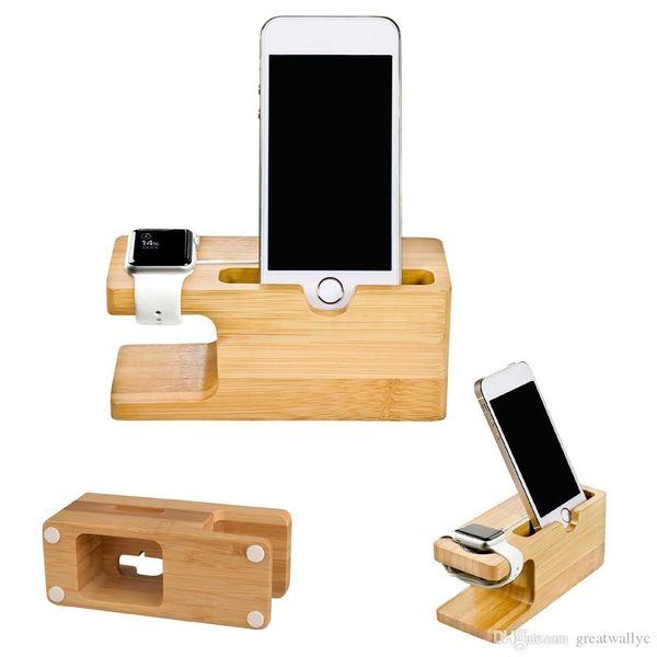 Support de station d'accueil de berceau en bois de bambou support de téléphone pour Iwatch iPhone 6S Plus 7 Plus support de charge de montre Apple