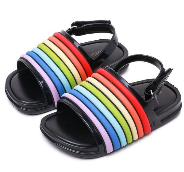 2018 New Summer Melissa Mini Rainbow Strip Boys Sandals Girls Shoes Jelly  Shoe Girl Non-slip Kids Beach Sandal Toddler 2d728d560c00