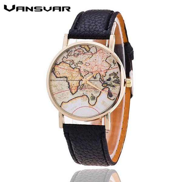 Vansvar Marke Mode Weltkarte Uhr Frauen Casual Lederband Quarz Uhren Montre Femme Relogio Feminino 1133