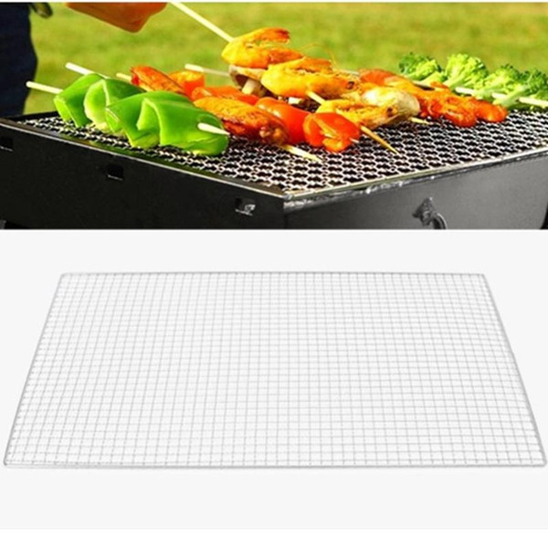 Wholesale- 1PCS Light Weight 3 Size BBQ Grill Cooker Replacement Stainless Steel Wire BBQ Mesh Outdoor Camping Picnic Cooking Barbecue Tool