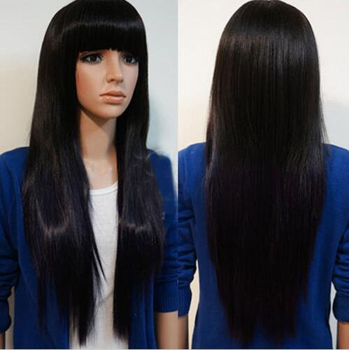 free shipping charming beautiful new Hot sell Women Long Brazilian Black Straight Natural Remy Wig Hair Bangs Full Wigs Decor
