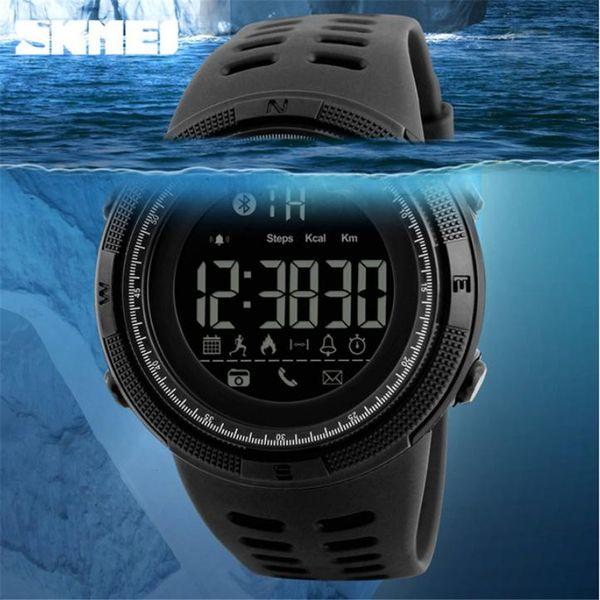 SKMEI Su Geçirmez Bluetooth Akıllı Izle 1250 Kronometre Chrono Kalori Pedometre Mesajı Çağrı Hatırlatmak Uzaktan Kamera Erkekler Saatı
