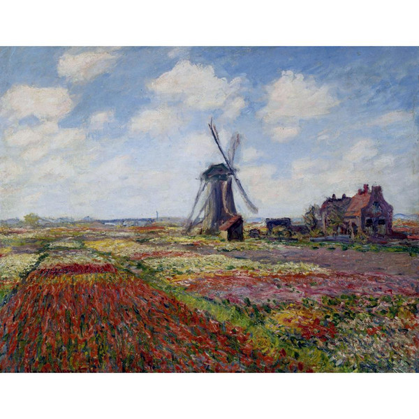 Claude Monet Oil painting reproduction Fields of Tulip With The Rijnsburg Windmill impressionist artwork for wall decor