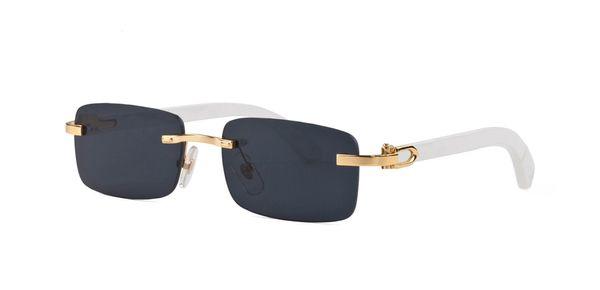 Wholesale designer rimless sunglasses rectangular white buffalo horn glasses men women brand name bamboo wood sunglasses with clear lenses