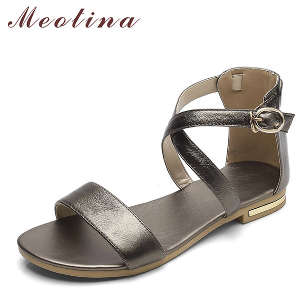 Meotina Genuine Leather Women Sandals Block Heel Summer Shoes Open Toe Ladies Flat Shoes Buckle 2018 Female Footwear Size 33-46