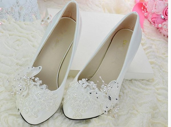 Free send Autumn bride wedding waterproof table Middle heel shoes white women shoes New style shoes heel 4.5cm,8cm