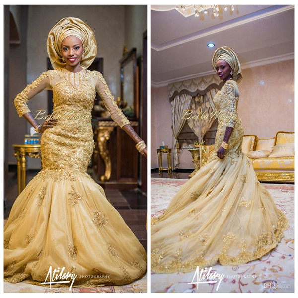 2019 O-Neck Gold African Traditional Lace Appliques Wedding Dresses Beaded Slim Quarter Long Sleeves Tulle Court Train Bridal Gowns