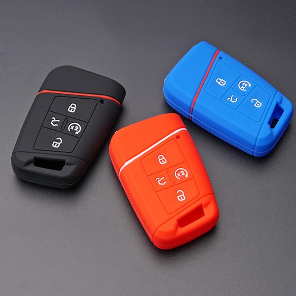 Silicone car key fob skin shell cover case holder for VW Tiguan 2018 Magotan Passat B8 golf 7 ALLTRACK 4 Button Remote keyless
