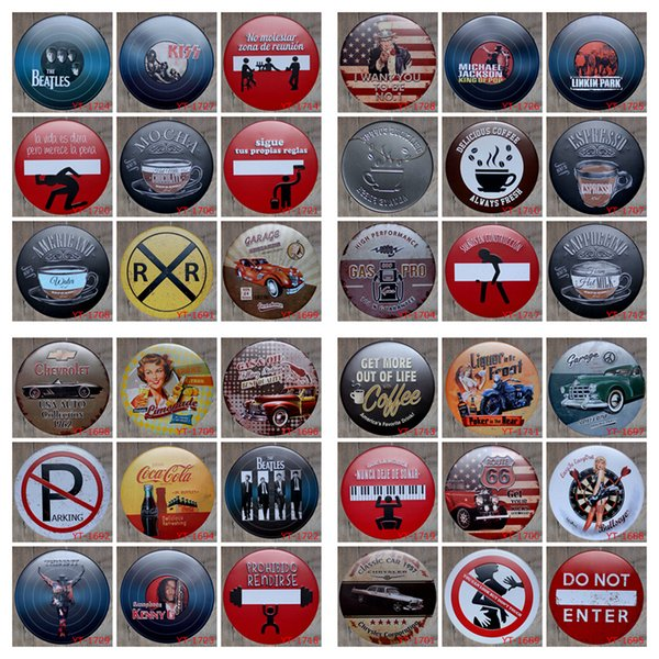 30cm Round Vintage Metal Tin Signs Wall Decor MJ Beatles Coffee Iron Paintings Metal Signs Tin Plate Pub Bar Garage Home Decoration AAA1041