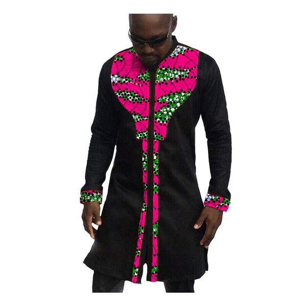 Fashion Man's Dress African Africa Festive Pattern Long Sleeve Shirts Men Fashion Print And Black Shirts African Clothes For Men