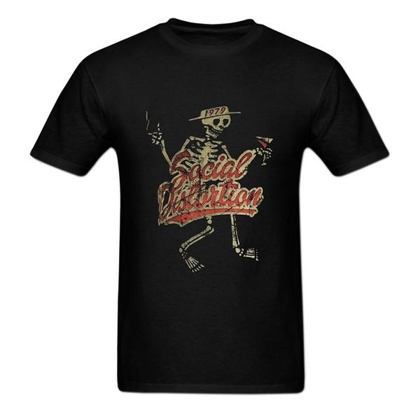 Tshirt Homme 2019 Yeni Erkek Hip hop Ön Baskılı Sosyal Bozulma Grafik Crewneck T gömlek