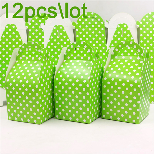 Birthday Party Green Polka Dots Theme Decoration Gifts Boxes Baby Shower Paper Candy Box Kids Favors Events Supplies 12pcs\lot