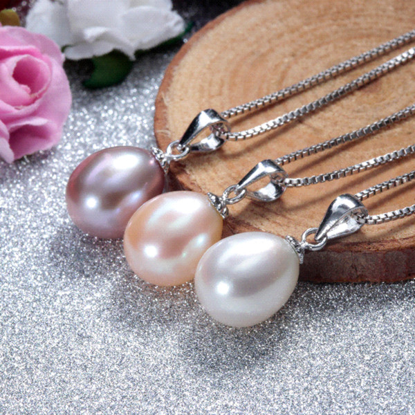 925 sterling silver necklace pendant for women genuine freshwater pearl jewelry 8-9mm wholesale price 3 colors small size