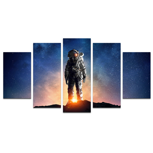 No Frame / Unstretched 5 Piece Astronaut In Outer Space Canvas Wall Art Prints Starlight Pictures Home Decoration Stampe su tela per camera dei bambini