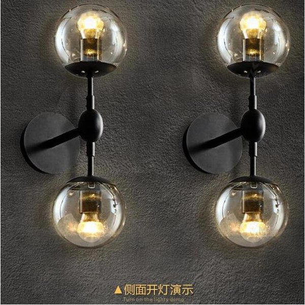 SVITZ Art studio 2-head Mirror glass ball wall lamp abajur E27 led modern wall light coffee shop Professional lighting dinning lights
