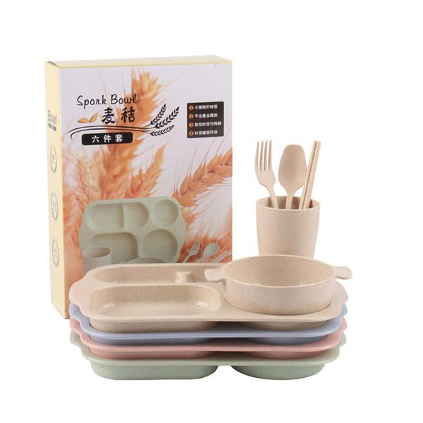 корейский столовая посуда наборы пшеницы соломы ужин тарелка набор кухня пшеницы соломы продукты ЭКО дружественных пользовательских логотип