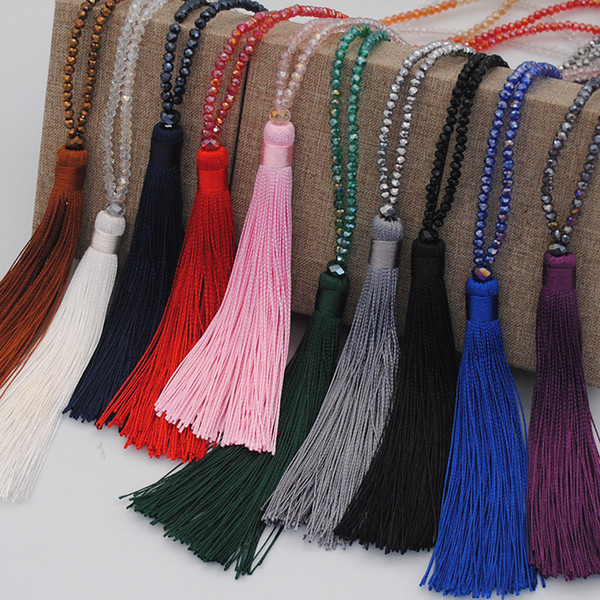 Moda larga flecos borla collares para mujeres Collier Crystal Beads cadena larga collar de joyería de Bohemia MI
