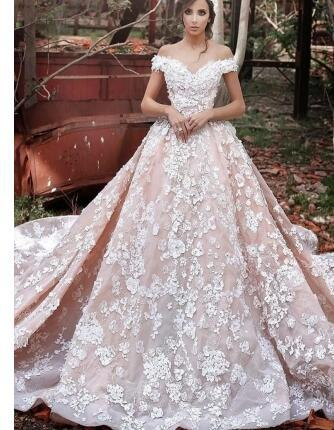 Off-the-Shoulder 2019 Pink Wedding Dress | Ball Gown Lace Appliques Bridal Gowns