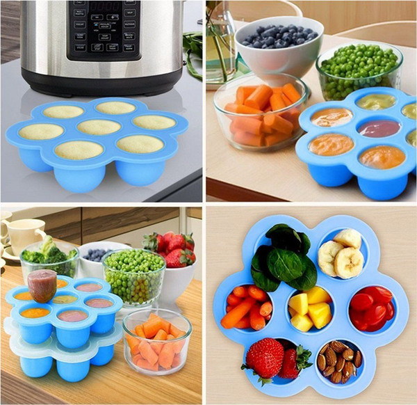 5Colors Silicone Egg Bite Mold Baby Food Storage Container Fruit Ice Cube 7 holes Ice Cream Maker Kitchen Tool GGA1031