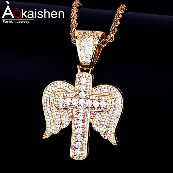 Hot seller Men's Hip hop Jewelry Cubic zircon Necklace & Pendant Wing Cross 3 colors Free Rope Chain For Friend Gift
