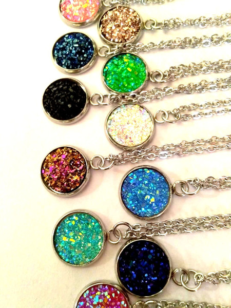 2018 Nueva cristal druzy Cuarzo Curación Chakra Collar de piedras preciosas Collar original de piedra natural Collar de la joyería