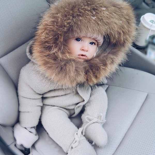 top popular Knitted rompe with foot and hood warm baby clothes with fur collar for winter outdoor 3 9 12 24 months 2 years grey onsie infant 2021