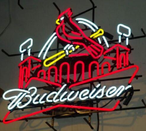 "Custom New St louis cardinals BUDWEISERR Real Glass Neon Sign light Beer Bar Sign Send need photo 19x15"""