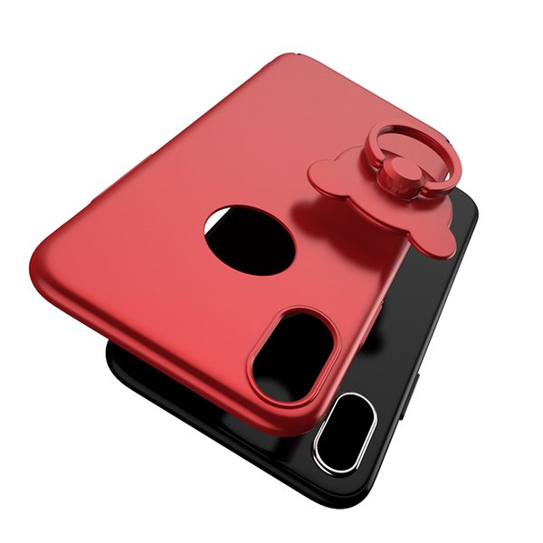 New Case 5.8'' inch Teddy Bear Back Cover Ultra Thin with Holder Ring 5 Colors with/without Circle Hole