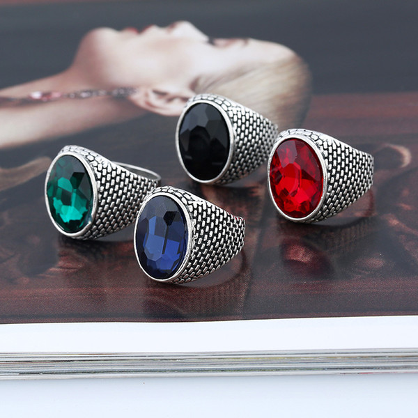 European and American men's large circle of crystal rings, foreign trade accessories wholesale new fashion quality alloy ring