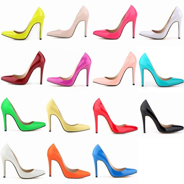 Banquet Party Wedding Single Shoes Heel 11 cm Womens Elegant Pointed Toes Shoes Graduation High Heels Shoe Ladies Stilettos 15 Colors