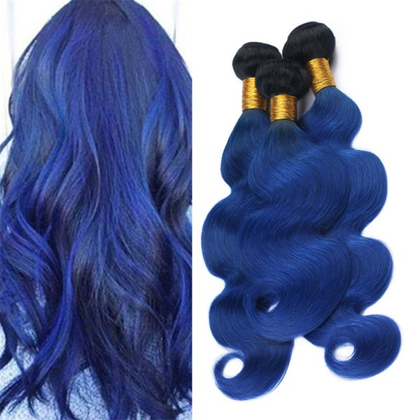 Body Wave Wavy Ombre Blue Virgin Hair Weave 3 Bundles Two Tone 1B Blue Ombre Human Hair Wefts Extensions 3Pcs Lot