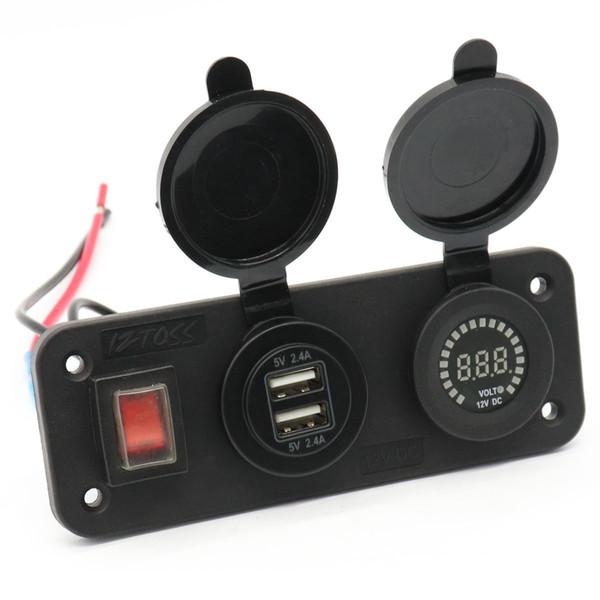 Caricabatterie Voltmetro impermeabile LED Dual USB Charger Caricabatterie da auto per auto DC12V con borsa Opp